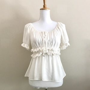 Anthropologie HD Paris Ivory Ruffled Blouse